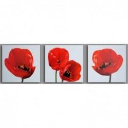 Třidílný dekorační obraz s motivem květin - 3D_3090_00007